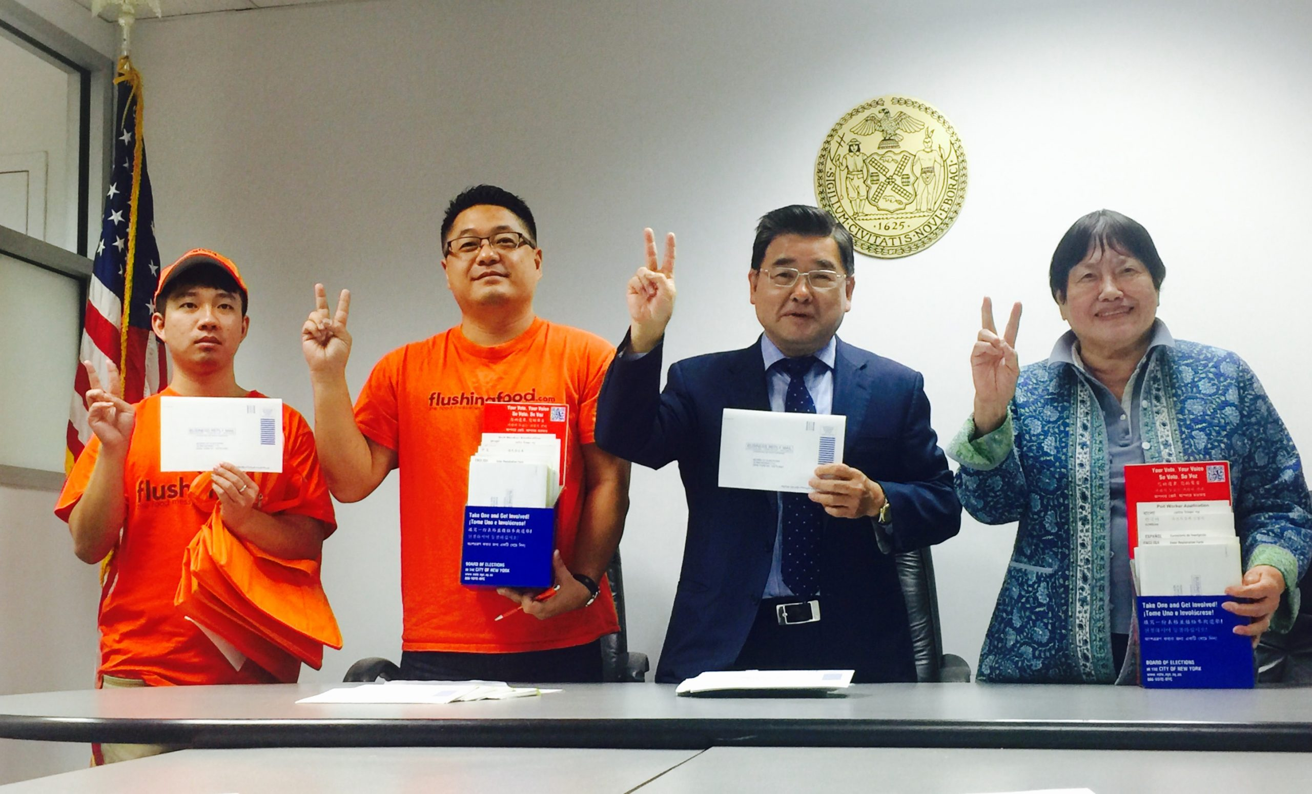 NYC Councilman Koo with Food Delivery company, Kick off Voter Registration Drive