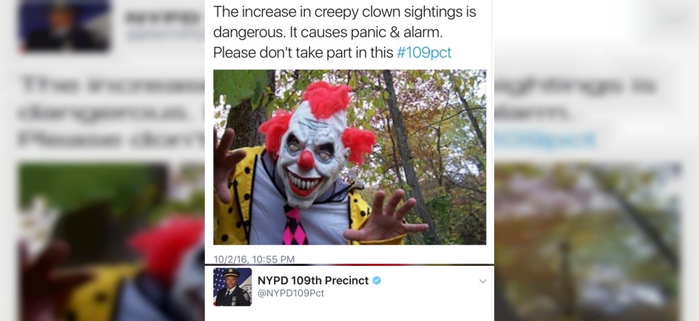 NYPD 109th Precinct: The increase in creepy clown sightings is dangerous