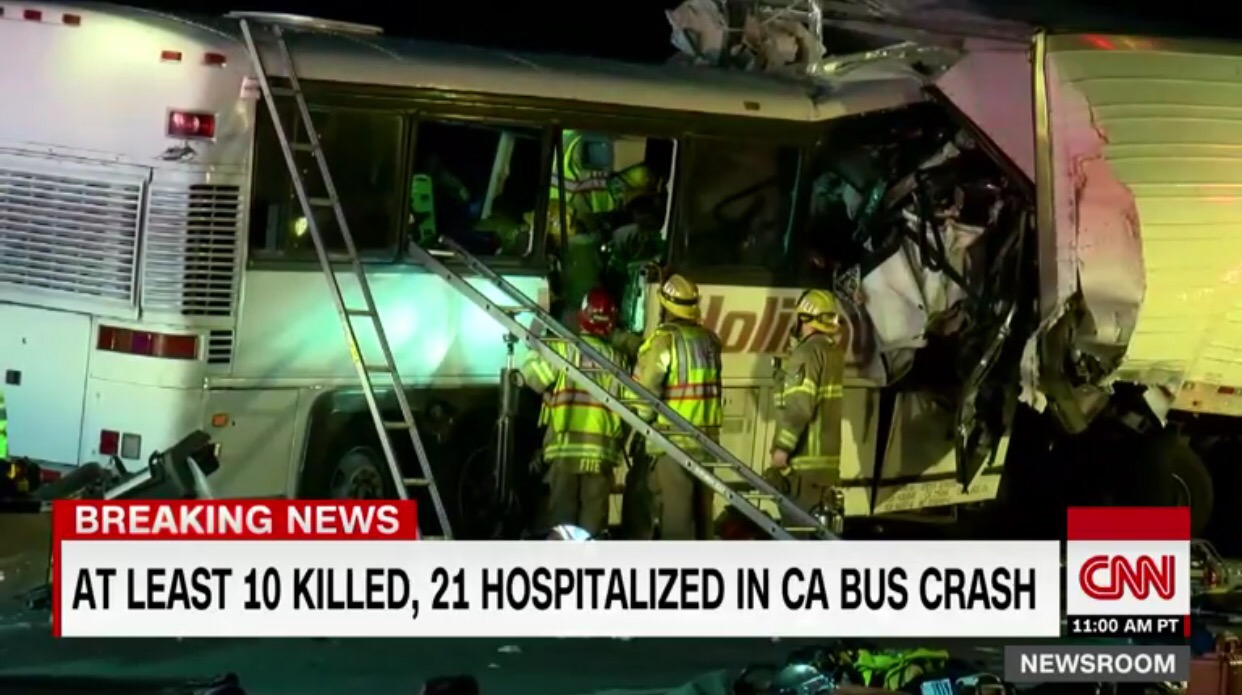 At least 13 people killed in California tour bus crash